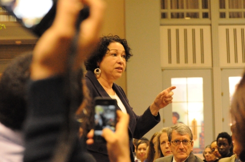 Hon. Sonia Sotomayor walks around the room answering questions from the audience. | Photo Amor Montes de Oca